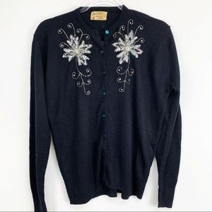 Vintage Mainliner Sequined Button Down Sweater
